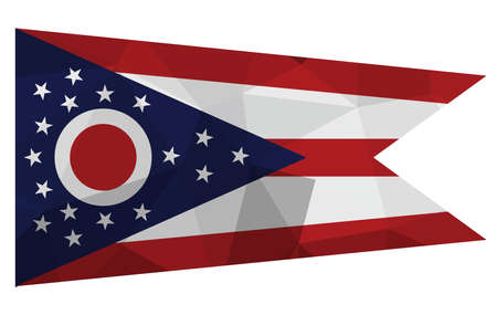 Ohio flag map in geometric,mosaic polygonal style. Abstract tessellation,background. Low poly vector illustration Ilustração