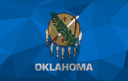 Oklahoma flag map in geometric,mosaic polygonal style. Abstract tessellation,background. Low poly vector illustration Ilustração