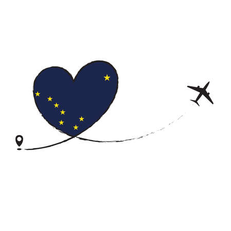 Flag ALASKA Love Romantic travel Airplane air plane Aircraft Aeroplane flying fly jet airline line path vector fun funny pin location pointer route trace sign track vacation holliday Ilustração