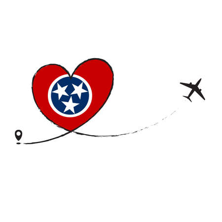 Flag Tennesee Love Romantic travel Airplane air plane Aircraft Aeroplane flying fly jet airline line path vector fun funny pin location pointer route trace sign track vacation holliday