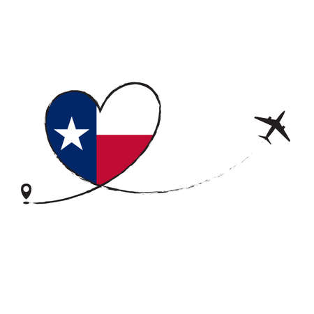Flag Texas Love Romantic travel Airplane air plane Aircraft Aeroplane flying fly jet airline line path vector fun funny pin location pointer route trace sign track vacation holliday Ilustração