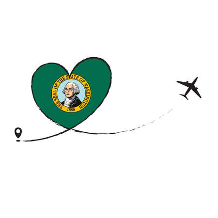 Flag Washington Love Romantic travel Airplane air plane Aircraft Aeroplane flying fly jet airline line path vector fun funny pin location pointer route trace sign track vacation holliday