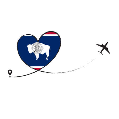 Flag Wyoming Love Romantic travel Airplane air plane Aircraft Aeroplane flying fly jet airline line path vector fun funny pin location pointer route trace sign track vacation holliday