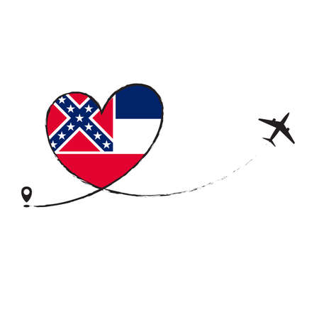 Flag Mississipi Love Romantic travel Airplane air plane Aircraft Aeroplane flying fly jet airline line path vector fun funny pin location pointer route trace sign track vacation holliday