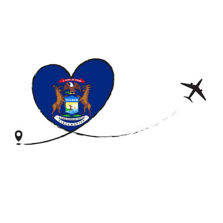 Flag Michigan Love Romantic travel Airplane air plane Aircraft Aeroplane flying fly jet airline line path vector fun funny pin location pointer route trace sign track vacation holliday