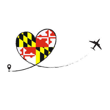 Flag Maryland Love Romantic travel Airplane air plane Aircraft Aeroplane flying fly jet airline line path vector fun funny pin location pointer route trace sign track vacation holliday Ilustração
