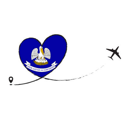 Flag Louisiana Love Romantic travel Airplane air plane Aircraft Aeroplane flying fly jet airline line path vector fun funny pin location pointer route trace sign track vacation holliday