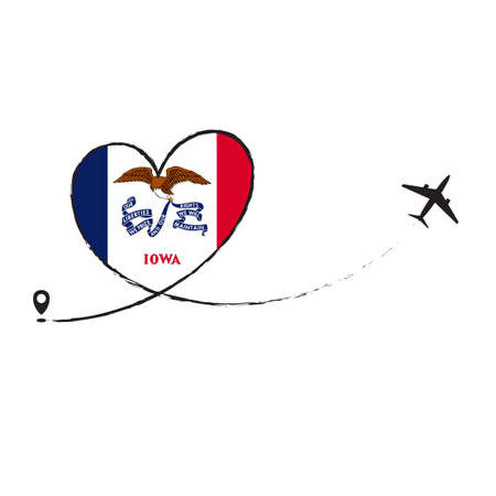 Flag Iowa Love Romantic travel Airplane air plane Aircraft Aeroplane flying fly jet airline line path vector fun funny pin location pointer route trace sign track vacation holliday Ilustração