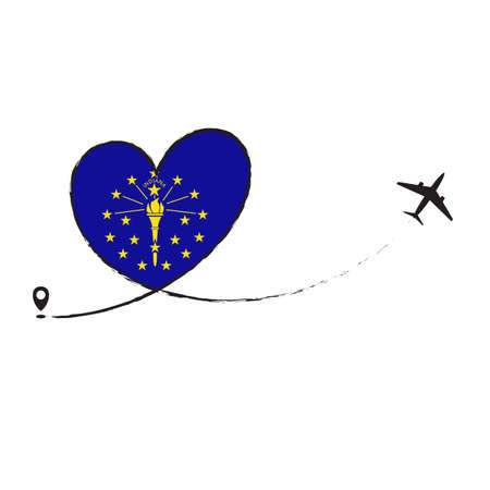 Flag Indiana Love Romantic travel Airplane air plane Aircraft Aeroplane flying fly jet airline line path vector fun funny pin location pointer route trace sign track vacation holliday Ilustração