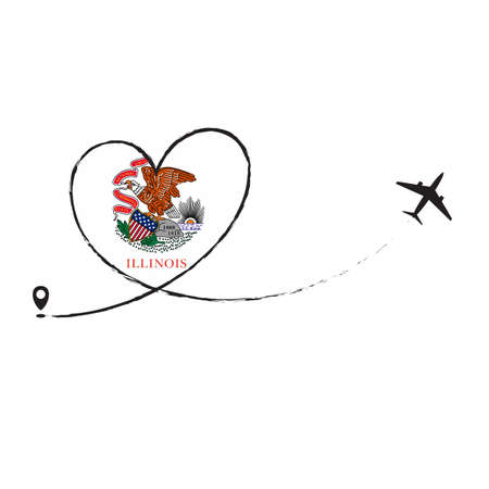 Flag Illinois Love Romantic travel Airplane air plane Aircraft Aeroplane flying fly jet airline line path vector fun funny pin location pointer route trace sign track vacation holliday