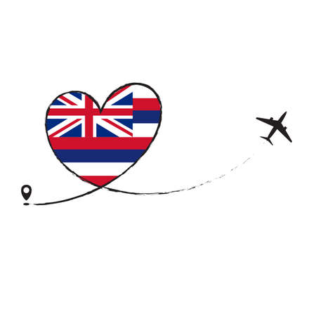 Flag Hawaii Love Romantic travel Airplane air plane Aircraft Aeroplane flying fly jet airline line path vector fun funny pin location pointer route trace sign track vacation holliday