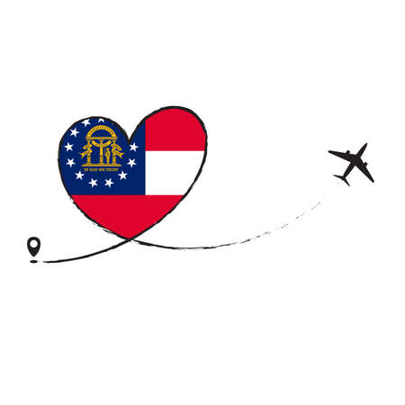 Flag Georgia Love Romantic travel Airplane air plane Aircraft Aeroplane flying fly jet airline line path vector fun funny pin location pointer route trace sign track vacation holliday Illusztráció