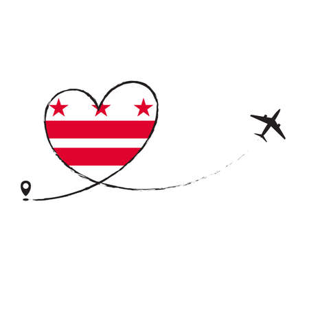 Flag District of Columbia Love Romantic travel Airplane air plane Aircraft Aeroplane flying fly jet airline line path vector fun funny pin location pointer route trace sign track vacation holliday