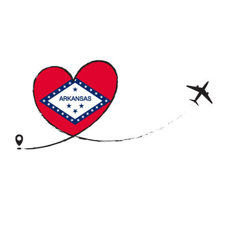 Flag Arcansas Love Romantic travel Airplane air plane Aircraft Aeroplane flying fly jet airline line path vector fun funny pin location pointer route trace sign track vacation holliday