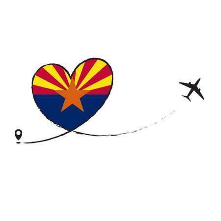 Flag Arizona Love Romantic travel Airplane air plane Aircraft Aeroplane flying fly jet airline line path vector fun funny pin location pointer route trace sign track vacation holliday Ilustração