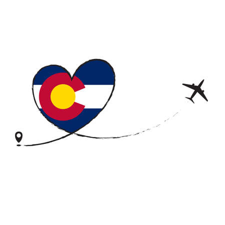 Flag COLORADO Love Romantic travel Airplane air plane Aircraft Aeroplane flying fly jet airline line path vector fun funny pin location pointer route trace sign track vacation holliday