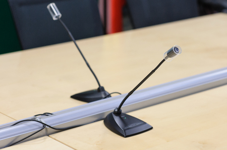 aciculum: microphone on conference Stock Photo