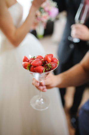 chandler: nice and tasty strawberries on wedding reception Stock Photo