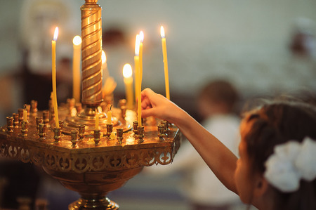 messa: Candles in christian church ortodox peaceful interior