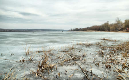 frozen lake: Beautiful landscape of frozen lake covered with snow and ice