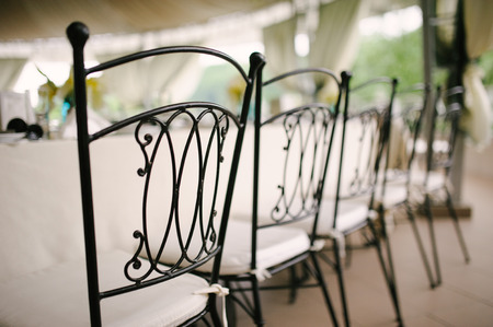 a meeting with a view to marriage: Wedding chairs beautiful decorated with decor agency Stock Photo