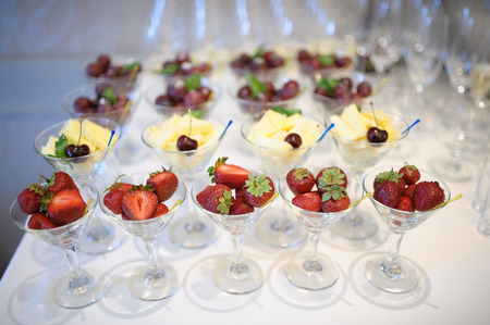 nice looking: nice looking and tasty pineapple and strawberry on wedding reception