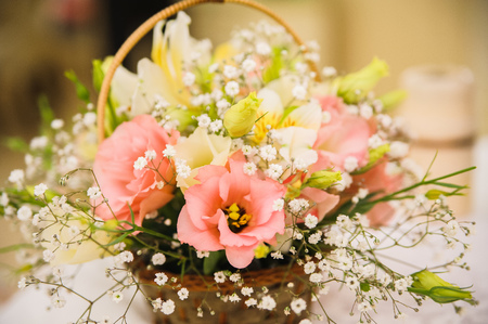 wedding decor at restaurant with all beauty and flowers Stock Photo