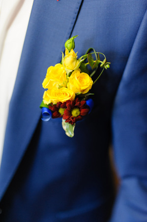 handcarves: Pinning a Boutonniere for groom on his wedding Stock Photo