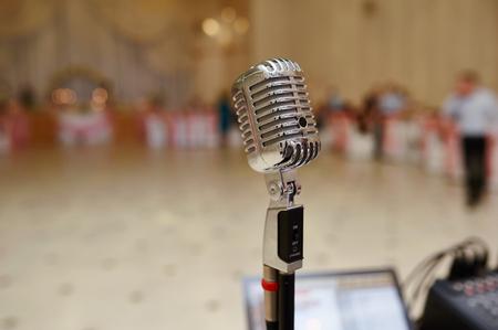 vocal: Vocal Microphone on Wedding Celebration Stock Photo