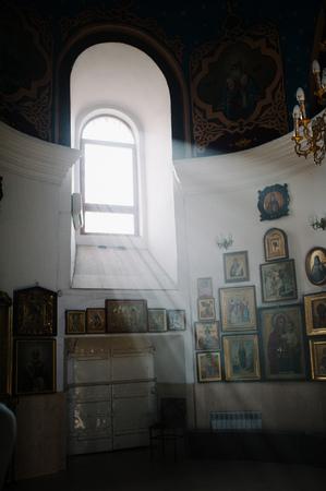 church interior: Orthodox Church Interior during christening baptism