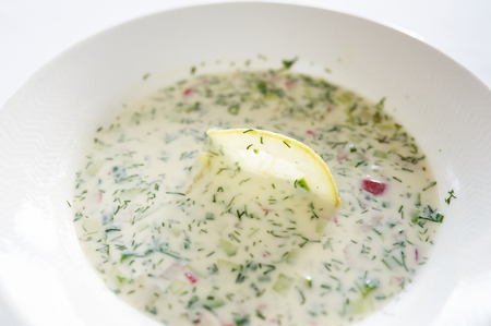 hash: Vegetable hash on white plate studio shot Stock Photo