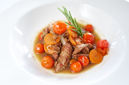roast lamb: Roast lamb Chops and Vegetables on white plate Stock Photo