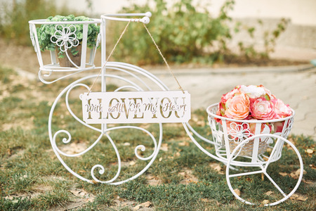 Wedding decor bicycle or bike with  flowers. Wedding decoration idea.