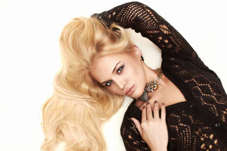Beautiful sexy passion blond woman  white background photo
