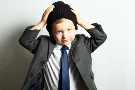 fashionable little boy in tie.style kid. fashion children Banco de Imagens