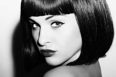 monochrome portrait of Beautiful Brunette Girl. Healthy Black Hair. bob Haircut.beauty woman. black and white art