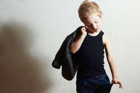 fashionable little boy.stylish haircut. fashion children