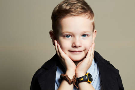 funny child.handsome little boy.fashion children Banco de Imagens