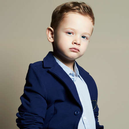fashionable little boy.stylish kid in suit. fashion children.business boy Banco de Imagens