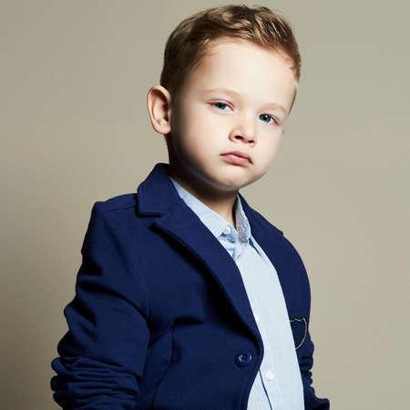 fashionable little boy.stylish kid in suit. fashion children.business boy Standard-Bild