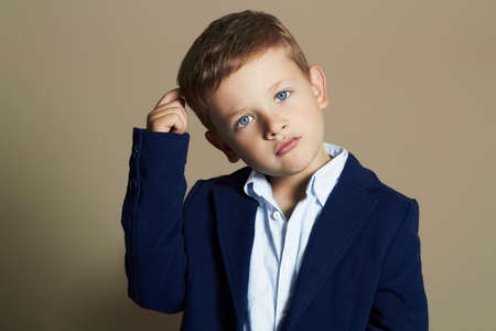 fashionable little boy.stylish kid in suit. fashion children