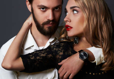 luxury fashionable couple in tender passion. Beautiful woman near the man.beauty girl and boy together Banco de Imagens