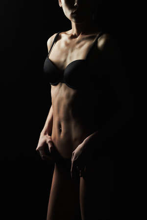 thin young woman in underwear.fitness sexy body girl Stock Photo