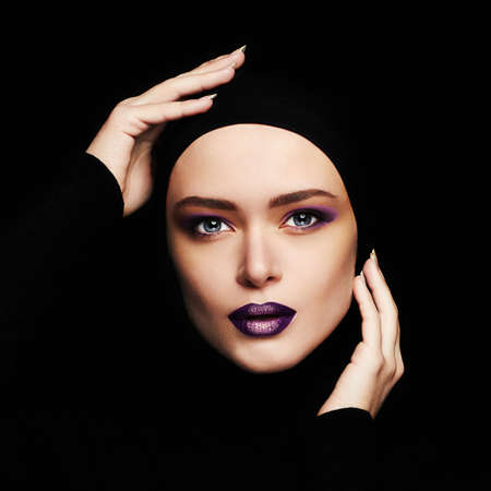 beautiful woman with professional make-up.female face.beauty girl Stock Photo