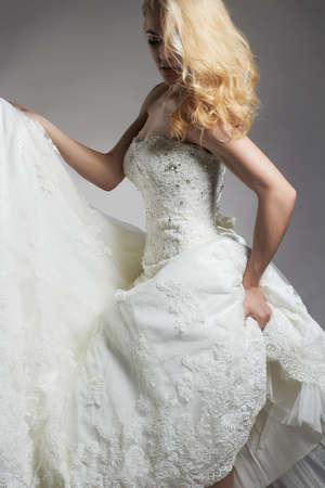 dancing Beautiful bride woman in wedding dress.young gorgeous bride girl. Wedding
