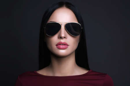 beautiful young woman with sunglasses.fashion beauty girl in glasses