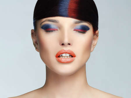 colorful make up woman face.Beauty Makeup.sexy girl with colorful mame-up and hair