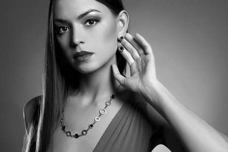 young beautiful sexy woman in jewelry.fashion Black and white portrait of Beauty sexy girl Stock Photo