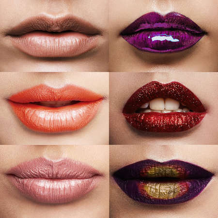 Beauty collage.different lips and lipstick collage.Make-up of beautiful girls Imagens