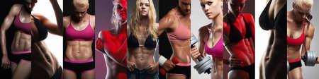 Sammlung von weiblichen Sportkörpern. Schöne muskulöse Mädchen der Collage. Fitness Frau, trainierte weiblichen Körper. gesunder Lebensstil Standard-Bild